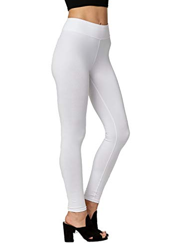 (Premium Ultra Soft Stretch High Waisted Cotton Leggings for Women with Yoga Waistband - Full-Length Extra White - Large)