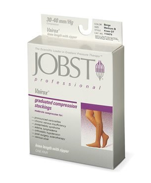 Jobst Vairox Professional Graduated Compression Knee-High Stockings with Zipper, 30 to 40 mmHg by Jobst