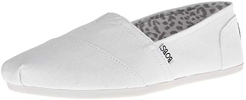 BOBS from Skechers Women's Plush Peace and Love Flat,White,8.5 M US