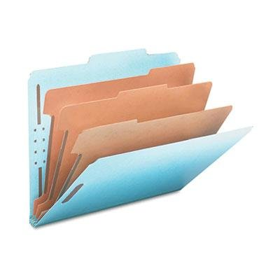 Smead 3'' Expansion Classification Folder, 2/5 Tab, Letter, Eight-Section, Blue, 10/Box