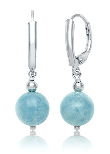 Sterling Silver Natural Round Beaded Milky Aquamarine Drop Dangle Earrings