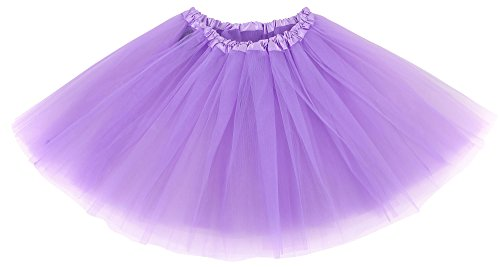 - Simplicity Women's Classic Elastic 3 Layered Tulle Ballet Tutu Skirt, Lavender