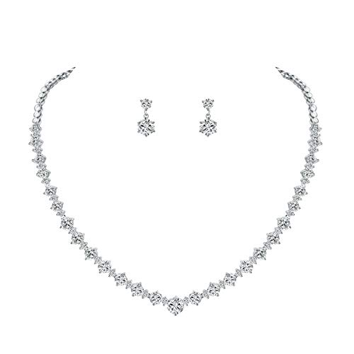 - WeimanJewelry Silver/Gold Plated Women Cubic Zirconia Round Cut CZ Bridal Necklace and Drop Earring Set for Bride Wedding (Silver)