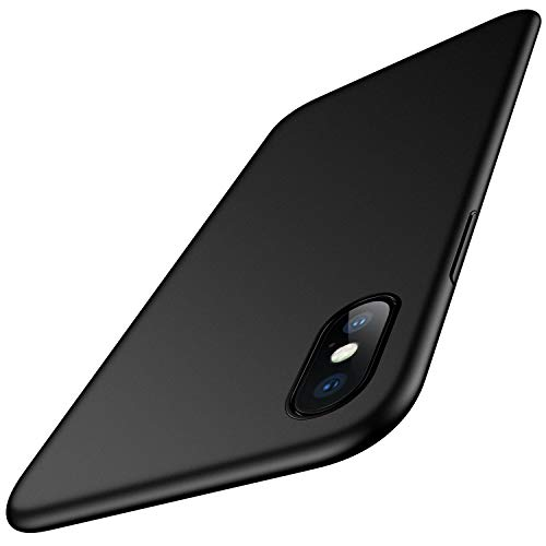 Meifigno Slim Fit iPhone X Case/iPhone Xs Case, [Soft Microfiber Lining], Hard Plastic PC Ultra Thin Mobile Phone Protective Cover Matte Finish for Great Grip for iPhone X/Xs 5.8 inch, Space Black