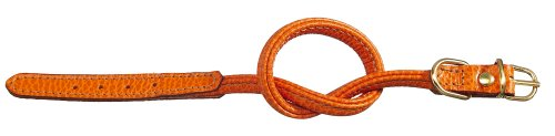 Petego La Cinopelca Tubular Calfskin Dog Collar, Orange, Fits 9 Inches to 11 Inches