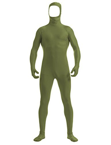 [Quesera Spandex Bodysuit Full Length Long Sleeve Face Open Stretchy Unitard Costume, Army Green, L6] (Military Style Dance Costumes)