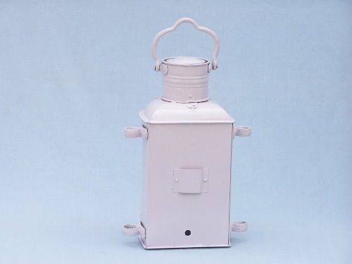 Iron Masthead Oil Lamp 14'' - White - Nautical Decoration - Iron Oil Lamp - Beach