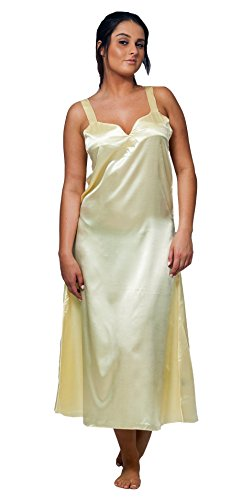 - Up2date Fashion Women's Satin Long Chemise/Nightgown (Small, Lemon)