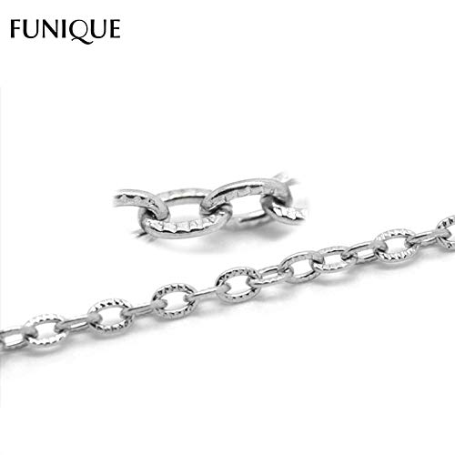 Lindsie-Box - New Fashion 10M Stainless Steel Necklace Textured Cable Link-Opened Chain For Jewelry Making DIY Necklace Women 4.5x3mm