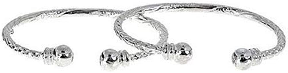 Better Jewelry Ball w. Double Halo Ends .925 Sterling Silver West Indian Baby Bangles 25.5 Grams (Pair) (Made in USA)