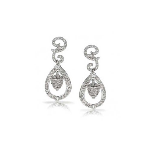 Royal Wedding Acorn Bridal Prom Cubic Zirconia Pave CZ Drop Dangle Earrings For Women Silver Plated Brass ()