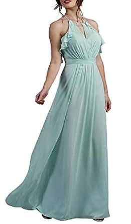 Jonlyc Women's A Line Halter Keyhole Chiffon Bridesmaid Dress Backless Aqua 18W