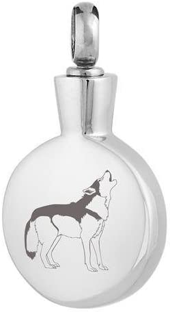 Perfect Memorials Wolf Round Stainless Steel Cremation Jewelry