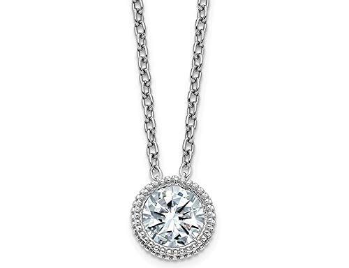 1/2 Carat (ctw) Synthetic Moissanite Bezel Solitaire Pendant Necklace in 14K White Gold (2.00 Carat Diamond Look)