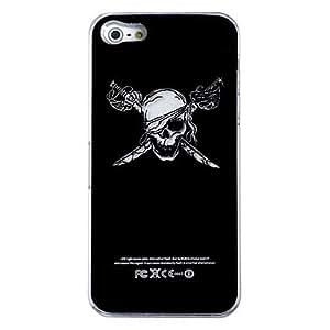 Nuevo patrón huesos cruzados sentido de destello llevado color de la luz cambia la cubierta dura para el iphone 5 , Negro