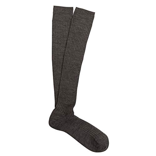 Marcoliani Milano MensOver The Calf Ribbed Extrafine Merino Dress Socks (One Size) Flannel Grey