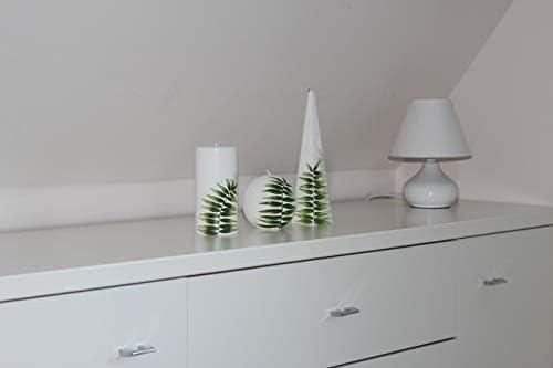 rot in unterschiedlichen Formen stilvolle Dekoration Liatris handbemalte Kerze mit Tannenmotiv Segel ideale Geschenkidee modernes /& kreatives Design