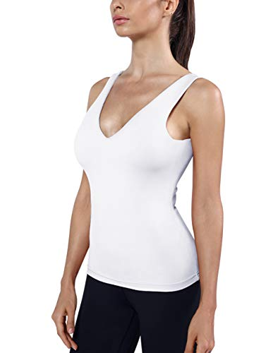 (DISBEST Yoga Tank Top Women's Tailored Camisole Sleeveless Shirt Vest Top V-Neck with Built-in Bra (Medium, White1))