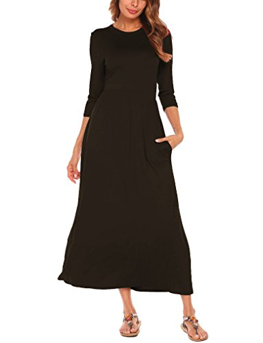 3/4 sleeve black knit dress - 7