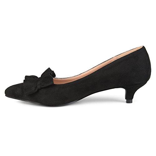Journee Collection Womens Ruffle Faux Suede Kitten Heels Black UDyrJr