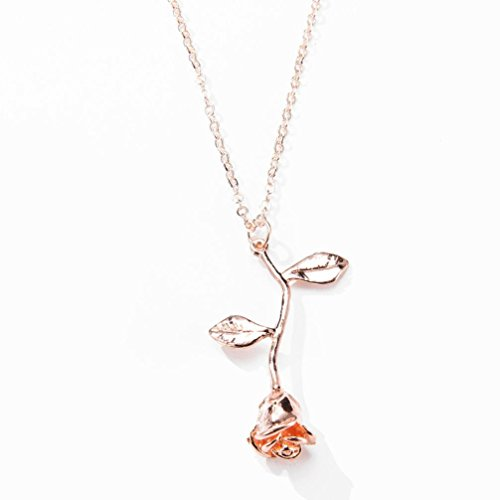 Women Ladies Girls Rose Pendant Necklace Cuekondy Fashion Statement Jewelry Anniversary Gift Personalized (Rose Gold)