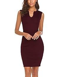 Women's Business Wear to Work Sleeveless V Neck Bodycon Pencil Dress
