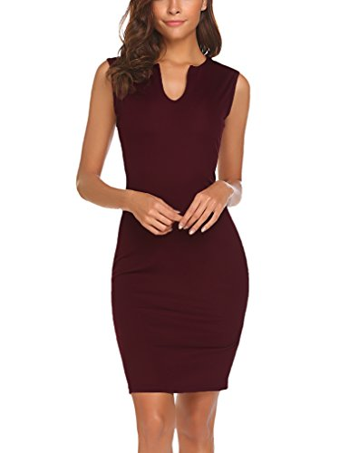 Naggoo Women's Business Wear to Work Sleeveless V Neck Bodycon Pencil Dress 01 Wine Red L