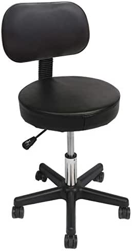Swivel Drafting Stool - Wahson Black Ergonomic Rolling Chair [Adjustable Height, Comfy Back Rest, 15-inch Thick Seat Cushion, 5 Gravity Wheels] for Office Desk, Dental Clinic, Spa, Massage, Hair Salon