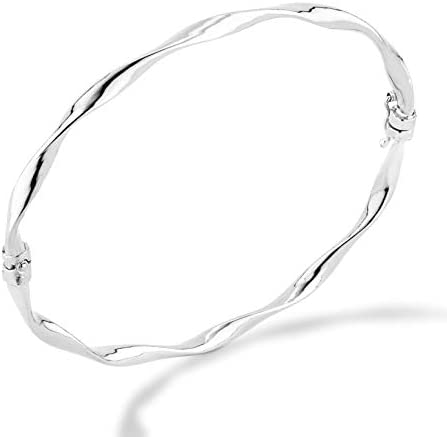 Miabella 925 Sterling Silver Italian Oval Hinged Twist Bangle Bracelet for Women Teen Girls 6.75 to eight Inch Made in Italy