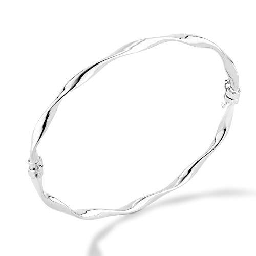 MiaBella 925 Sterling Silver Italian Twisted Hinged Bangle Bracelet Jewelry for Women, Girls 7