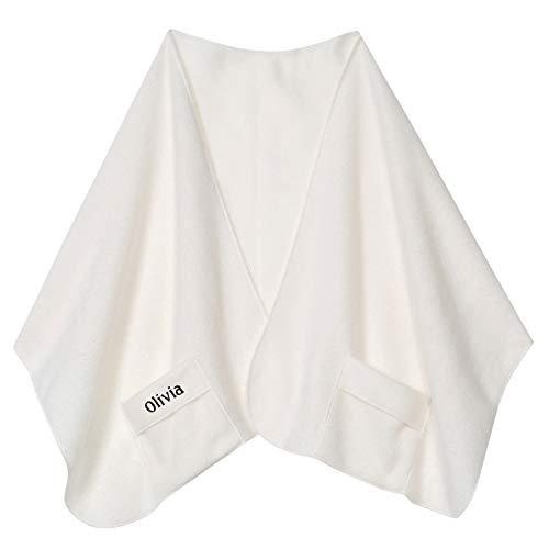 Custom Embroidered Pocket Shawl - Personalized Fleece Scarf - Ivory ()