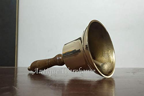 (Handmade Brass Bell Hand Bell Solid Brass Bell With Wooden Handle Collectibles)
