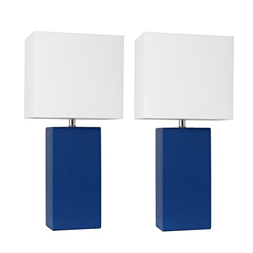 Elegant Living Room Furniture - Elegant Designs LC2000-BLU-2PK 2 Pack Modern Leather Table Lamps with White Fabric Shades, Blue/White Shade