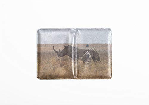 (Passport Case A Black Rhinoceros Mother And Calf Stylish Pu Leather Passport Holder Cover Leather Passport Holder Cover For Women Men Women Passport Cover)