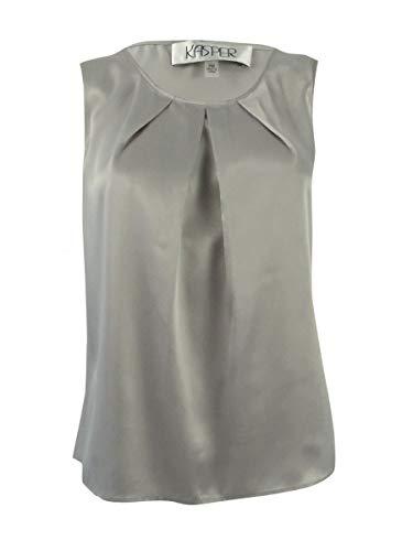 Kasper Women's Solid Pleat Neck Blouse (2), Platinum, M