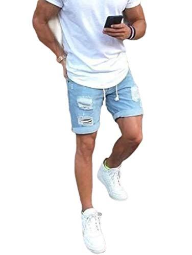 (Winwinus Men's Denim Pants Distressed Jeans Stonewashed Bermuda Shorts Blue M)