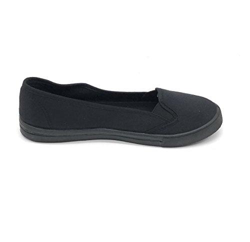 Blue Berry EASY21 Women Canvas Round Toe Slip On Flat Fashion Sneaker All Black 63GEC