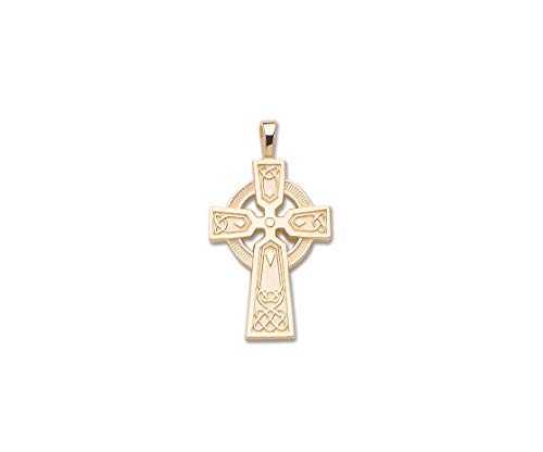 PicturesOnGold.com Solid 14k Yellow Gold Large Celtic Cross - 3/4 Inch x 1 1/4 ()