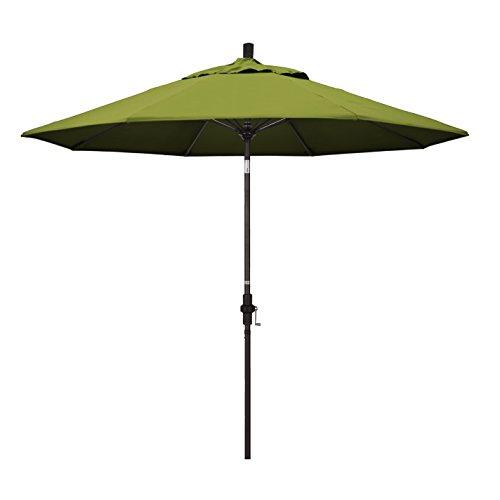 California Umbrella 9' Round Aluminum Pole Fiberglass Rib Market Umbrella, Crank Lift, Collar Tilt, Bronze Pole, Kiwi Olefin ()