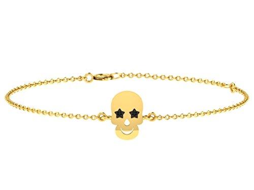 Or Jaune 14 ct Bracelet Diamant en forme de crâne, 0.04 Ct Diamant, GH-SI, 2.21 grammes.