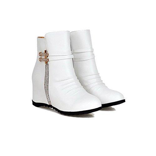 Toe White PU Heels AgooLar Boots Zipper Solid Round Women's Closed High S7Sw8vx