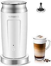 BURNNOVE Elektrische automatische melkopschuimer voor koud warm opschuimen en verwarmen Milk Frother 240 ml antiaanbaklaag wit