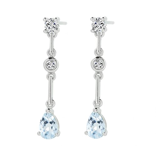Aquamarine Pear Earrings - Sterling Silver Genuine Natural Aquamarine & White Topaz Dangle Earrings (4/5 Ct.t.w)