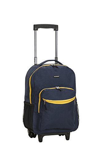 Rockland Luggage 17 Inch Rolling Backpack, Navy, One Size (Clear Backpack With Wheels)