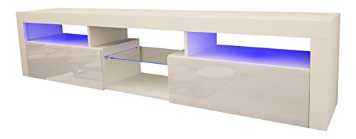 Gloss Wall Unit - Domovero Vespe 200 Floating TV Stand For Living Room/TV Wall Unit with LED lighting/Color (White & White)