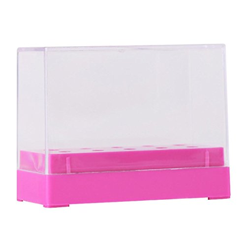 - NewKelly 10 Holes Nail Drill Bit Holder Display Standing With Cover Storage Box (Hot Pink)