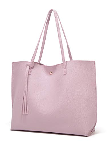 Women's Soft Leather Tote Shoulder Bag from Dreubea, Big Capacity Tassel Handbag Light Purple