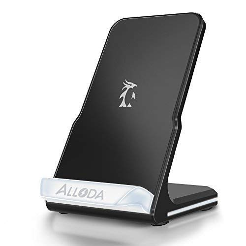 iPhone X Wireless Charger, Alloda Breathing Light QI Fast Wireless Charging stand for Samsung Galaxy S9 Plus S9+ S8 S7a Edge S6 Note 8/5 etc.Standard Charge for iPhone X 8 Plus - No AC Adapter