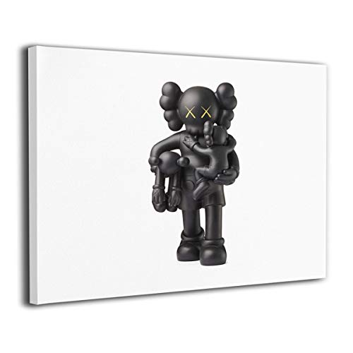 HAINANBOY KAWS Clean Slate Vinyl Figure Black Wall Art Painting Stretched and Framed Paintings Ready to Hang for Living Room Office Decoration 20x16inches
