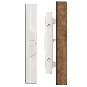 Classic Whistler Sliding Door Handle Set with Oak Wood Pull in White Finish, Durable hardware door locks, door handles, door hardware